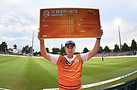 Tui Catch a Million winner shows off his cheque for $50,000.<br /> New Zealand Black Caps v England.Tri-Series International Twenty20 cricket. Eden Park, Auckland, New Zealand. Sunday 18 February 2018. &copy; Copyright Photo: Andrew Cornaga / www.Photosport.nz