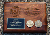 Sep 4, 2017; Clermont, IN, USA; Plaque for NHRA top fuel driver Steve Torrence during the US Nationals at Lucas Oil Raceway. Mandatory Credit: Mark J. Rebilas-USA TODAY Sports