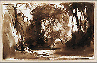 BNPS.co.uk (01202 558833)<br /> Pic:  ChiswickAuctions/BNPS<br /> <br /> 'A Woodland Glade', from Constable's late period sold for &pound;40,000.<br /> <br /> Two previously unknown drawings by English artist John Constable that hung above a connoisseurs's bed for 50 years have sold for &pound;115,000.<br /> <br /> The small sketches of a woodland glade belonged to the late playwright Christopher Fry and were found by his son Tam while clearing out his father's home.<br /> <br /> Mr Fry Snr placed the two pen and ink drawings on his bedroom wall after acquiring them in the 1950s.<br /> <br /> After his death in 2005 aged 97, the drawings were placed in a cardboard box and left in a spare room.<br /> <br /> Tam Fry, a retired BBC TV director, did not realise who the artist was at first until his daughter spotted the name John Constable RA inscribed on the mounts.