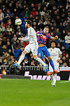 Real Madrid´s Sergio Ramos and Levante UD´s Jordi Xumetra Feliu during 2014-15 La Liga match between Real Madrid and Levante UD at Santiago Bernabeu stadium in Madrid, Spain. March 15, 2015. (ALTERPHOTOS/Luis Fernandez)