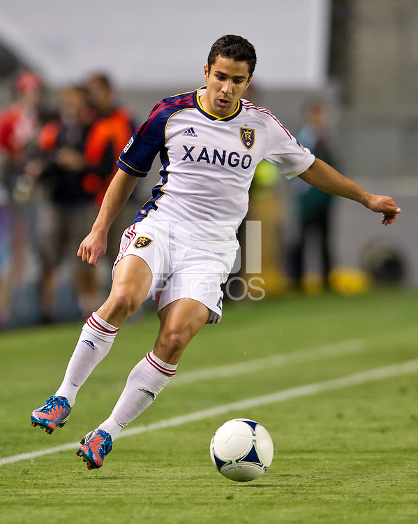 CARSON, CA - June 16, 2012: Real Salt Lake defender Tony Beltran (2) during the Chivas USA vs Real Salt Lake match at the Home Depot Center in Carson, California. Final score Real Salt Lake 3, Chivas USA 0.