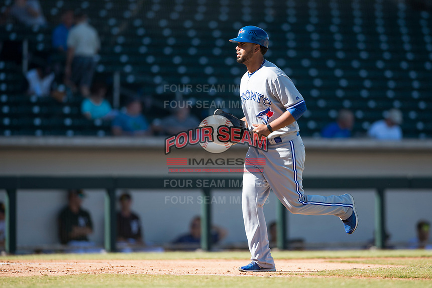 Surprise Saguaros position coach Andy Fermin (2), of the Toronto Blue Jays organization, during an Arizona Fall League game against the Mesa Solar Sox at Sloan Park on November 1, 2018 in Mesa, Arizona. Surprise defeated Mesa 5-4 . (Zachary Lucy/Four Seam Images)