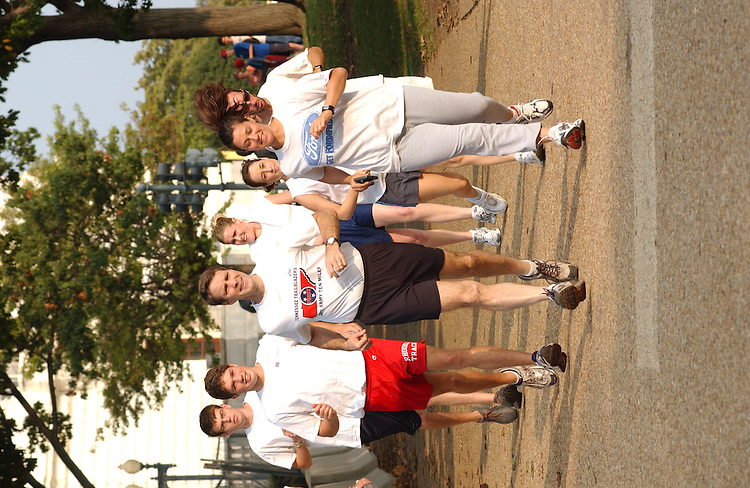 10/01/04.SENATE MAJORITY LEADER BILL FRIST--Senate Majority Leader Bill Frist, R-Tenn., begins a run in the Senate Park with staff and members of the media. Heidi Glenn, a reporter for Tax Notes, is at right, wearing the Ford t-shirt. Molly Hooper of Fox is the blonde between Frist and Glenn..CONGRESSIONAL QUARTERLY PHOTO BY SCOTT J. FERRELL
