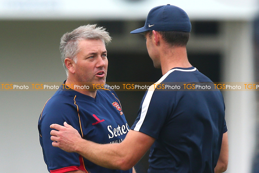 Essex head coach Chris Silverwood greets James Franklin of Middlesex during Essex Eagles vs Middlesex, NatWest T20 Blast Cricket at The Cloudfm County Ground on 11th August 2017
