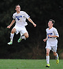 Andrew Lule #5 of Glenn, left, reacts after scoring his third goal of the match as teammate Thomas Witthuhn #22 comes over to congratulate him in the second half of Suffolk County League VI varsity boys soccer game against Southampton at Glenn High School on Friday, Sept. 9, 2016. Glenn won by a score of 6-3.
