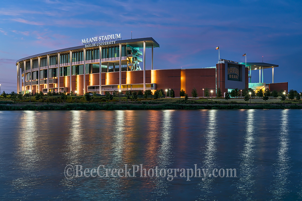 This is the Waco McLane Stadium where the Baylor University Bears play.  It is a beautiful stadium and even more so at night.  We found that across the Brazos river gave a nice view point and as the lights came on it really popped and had some nice reflections in the water and the sky still had some  pink clouds left over from the sunset it gave a really nice blue hour look.