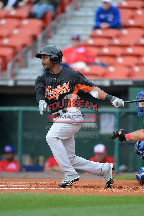 Norfolk Tides outfielder L.J. Hoes #28 during a game against the Buffalo Bisons on May 9, 2013 at Coca-Cola Field in Buffalo, New York.  Norfolk defeated Buffalo 7-1.  (Mike Janes/Four Seam Images)