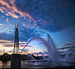 Riverscape fountains summer evening in Dayton OHio