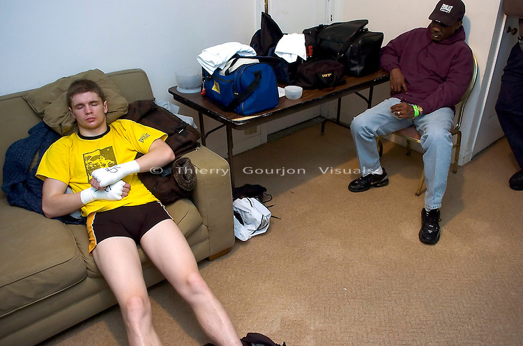 Yuri Foreman waits in his dressing room , before his 8 rounds fight against junior middleweight Jesus Soto at the Hammerstein Ballroom in NYC on 02.24.05. Yuri won the fight by Unanimous Decision.