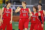 (L-R)  Maki Takada, Moeko Nagaoka  (JPN), AUGUST 6, 2016 - Basketball : <br /> Women's Preliminary Round <br /> between  Japan 77-73 Belorussiya  <br /> at Youth Arena <br /> during the Rio 2016 Olympic Games in Rio de Janeiro, Brazil. <br /> (Photo by Yusuke Nakanishi/AFLO SPORT)