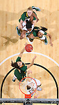 SIOUX FALLS, SD: MARCH 4: Reilly Jacobson of North Dakota State grabs a rebound in front of players from North Dakota State and IUPUI on March 4, 2017 during the Summit League Basketball Championship at the Denny Sanford Premier Center in Sioux Falls, SD. (Photo by Dick Carlson/Inertia)