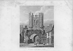 Nineteenth century engraving from 1829, Mickle Gate Bar, York,  England, UK drawn by W. Westall