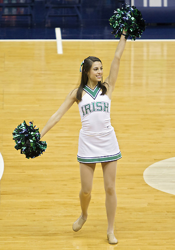 February 24, 2013:  Notre Dame dance team member performs during NCAA Basketball game action between the Notre Dame Fighting Irish and the Cincinnati Bearcats at Purcell Pavilion at the Joyce Center in South Bend, Indiana.  Notre Dame defeated Cincinnati 62-41.