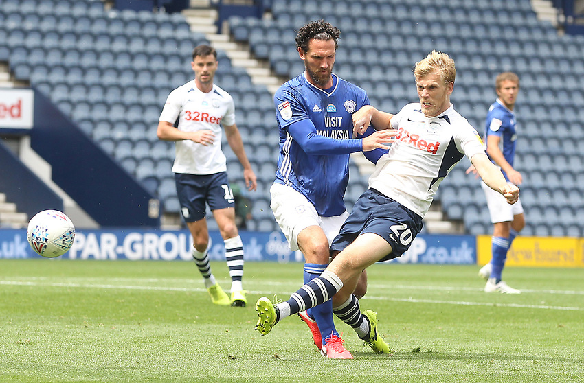 Preston North End's Jayden Stockley gets a shot on goal<br /> <br /> Photographer Mick Walker/CameraSport<br /> <br /> The EFL Sky Bet Championship - Preston North End v Cardiff  City - Saturday 27th June 2020 - Deepdale Stadium - Preston<br /> <br /> World Copyright © 2020 CameraSport. All rights reserved. 43 Linden Ave. Countesthorpe. Leicester. England. LE8 5PG - Tel: +44 (0) 116 277 4147 - admin@camerasport.com - www.camerasport.com