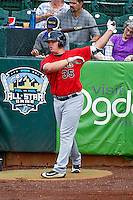 Corey Zangari (35) of the Great Falls Voyagers waits in the on-deck circle against the Ogden Raptors in Pioneer League action at Lindquist Field on August 17, 2016 in Ogden, Utah. Ogden defeated Great Falls 5-2. (Stephen Smith/Four Seam Images)