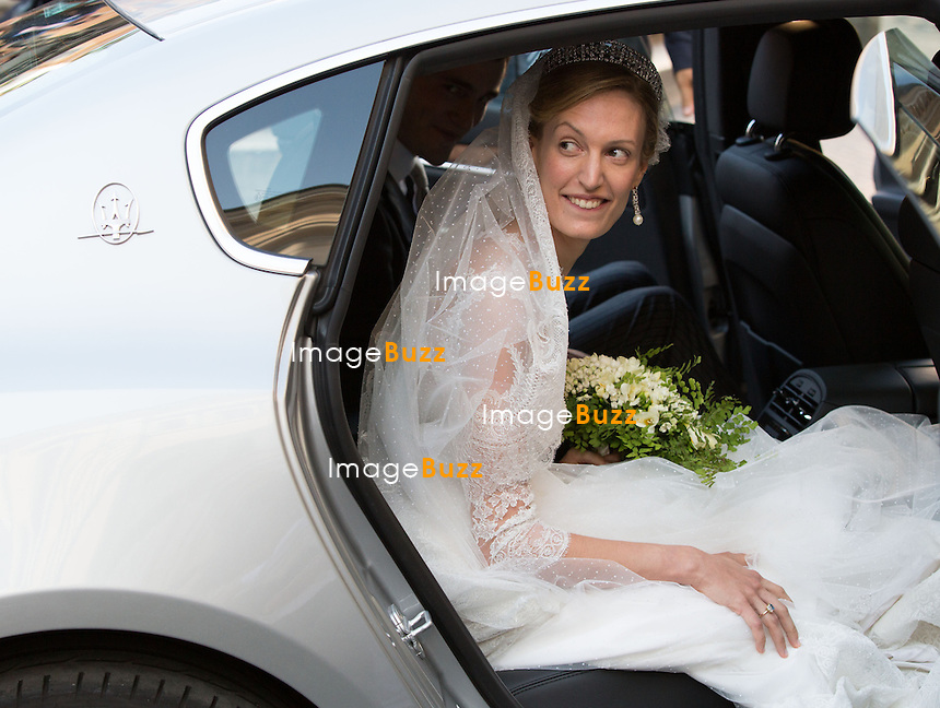 Elisabetta Maria Rosboch von Wolkenstein - Mariage du Prince Amedeo de Belgique et de Elisabetta Maria Rosboch von Wolkenstein, &agrave; la basilique de Santa Maria in Trastevere, &agrave; Rome.<br /> Italie, Rome, 5 juillet 2014.<br /> Elisabetta Maria Rosboch von Wolkenstein  - Wedding of HRH Prince Amedeo of Belgium and Elisabetta Maria Rosboch von Wolkenstein, at the basilic of Santa Maria in Trastevere, in Rome.<br /> Italy, Rome, July 5, 2014.