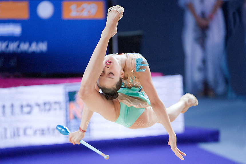 YULIYA ISACHANKA, junior from Bulgaria performs with clubs at 2016 European Championships at Holon, Israel on June 18, 2016.