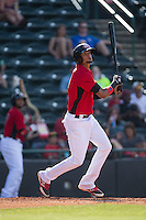 Jairo Beras (5) of the Hickory Crawdads follows through on his swing against the Savannah Sand Gnats at L.P. Frans Stadium on June 14, 2015 in Hickory, North Carolina.  The Crawdads defeated the Sand Gnats 8-1.  (Brian Westerholt/Four Seam Images)
