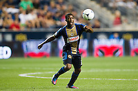 Michael LaHoud (13) of the Philadelphia Union. The Columbus Crew defeated the Philadelphia Union 2-1 during a Major League Soccer (MLS) match at PPL Park in Chester, PA, on August 29, 2012.