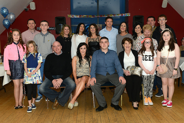 Adam McDonnell celebrating his 21st birthday in the Thatch with all his family. Photo:Colin Bell/pressphotos.ie