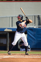 Ramon Osuna (19) of the Danville Braves at bat against the Pulaski Yankees at American Legion Post 325 Field on July 31, 2016 in Danville, Virginia.  The Yankees defeated the Braves 8-3.  (Brian Westerholt/Four Seam Images)