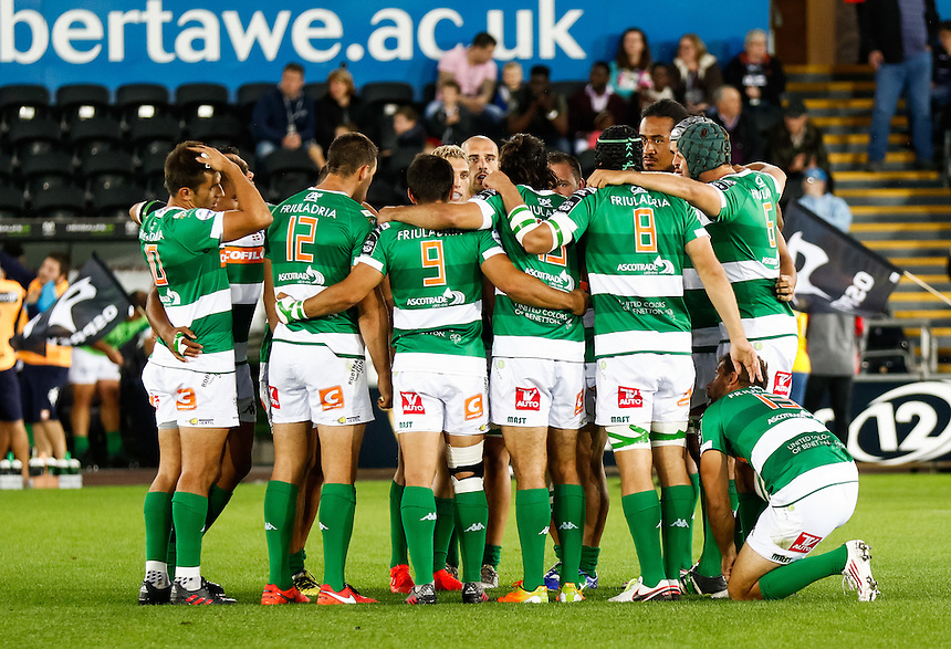 Benetton Treviso huddle before the game<br /> <br /> Photographer Simon King/CameraSport<br /> <br /> Guinness PRO12 Round 3 - Ospreys v Benetton Rugby Treviso - Saturday 17 September 2016 - Liberty Stadium - Swansea<br /> <br /> World Copyright &copy; 2016 CameraSport. All rights reserved. 43 Linden Ave. Countesthorpe. Leicester. England. LE8 5PG - Tel: +44 (0) 116 277 4147 - admin@camerasport.com - www.camerasport.com