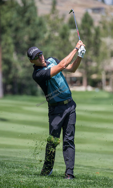Richy Werenski hits an approach shot on the 15th fairway during the Barracuda Championship PGA golf tournament at Montrêux Golf and Country Club in Reno, Nevada on Sunday, July 28, 2019.