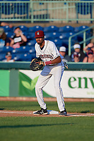 Mahoning Valley Scrappers first baseman Michael Cooper (4) during a NY-Penn League game against the Hudson Valley Renegades on July 15, 2019 at Eastwood Field in Niles, Ohio.  Mahoning Valley defeated Hudson Valley 6-5.  (Mike Janes/Four Seam Images)
