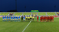 20180307 - LARNACA , CYPRUS : both teams and referees pictured in the line up before the women's soccer game between Italy and Spain , on wednesday 7 March 2018 at the AEK Arena in Larnaca , Cyprus . This is the final game for the first place  for  Italy and  Spain on the Cyprus Womens Cup , a prestigious women soccer tournament as a preparation on the World Cup 2019 qualification duels. PHOTO SPORTPIX.BE | DAVID CATRY