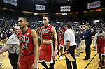 UNLV players leave the court following a 65-63 loss to Nevada in Reno, Nev., on Saturday, Jan. 23, 2016. Cathleen Allison/Las Vegas Review-Journal