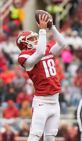 Hawgs Illustrated/BEN GOFF <br /> Blake Johnson, Arkansas punter, jumps to catch a bad snap in the second quarter against Mississippi State Saturday, Nov. 18, 2017, at Reynolds Razorback Stadium in Fayetteville. Johnson was unable to get the punt off and was downed for a loss of yards.