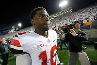 Ohio State Buckeyes quarterback J.T. Barrett (16) walks off the field after winning in the second overtime of the NCAA Division I football game at Beaver Stadium in University Park, PA on October 25, 2014. (Columbus Dispatch photo by Jonathan Quilter)