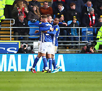 29th February 2020; Cardiff City Stadium, Cardiff, Glamorgan, Wales; English Championship Football, Cardiff City versus Brentford; Cardiff City players celebrate Joe Ralls' equalizer in the 45+1 minute