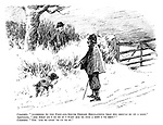 "Constable. ""According to the foot-and-mouth disease regulations that dog should be on a lead."" Sportsman. ""And what am I to do if I want him to find a bird I've shot?"" Constable. ""You 'ave to lead 'im up to it."""