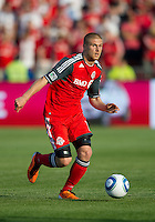 Toronto FC midfielder Alen Stevanovic #10 in action during an MLS game between the Seattle Sounders FC and the Toronto FC at BMO Field in Toronto on June 18, 2011..The Seattle Sounders FC won 1-0.