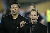 Steelers coaches Errol Brian & Kevin Putt celebrate as Kristian Ormsby scores Counties Manukau's 5th try late in the game during the Air NZ Cup game between the Counties Manukau Steelers and Southland played at Mt Smart Stadium on 3rd September 2006. Counties Manukau won 29 - 8.