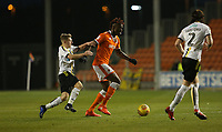 Blackpool's Armand Gnanduillet is tackled by Burton Albion's Jamie Allen<br /> <br /> Photographer Stephen White/CameraSport<br /> <br /> The EFL Sky Bet League One - Blackpool v Burton Albion - Saturday 24th November 2018 - Bloomfield Road - Blackpool<br /> <br /> World Copyright © 2018 CameraSport. All rights reserved. 43 Linden Ave. Countesthorpe. Leicester. England. LE8 5PG - Tel: +44 (0) 116 277 4147 - admin@camerasport.com - www.camerasport.com