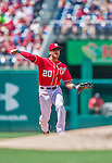 1 June 2014: Washington Nationals shortstop Ian Desmond in action against the Texas Rangers at Nationals Park in Washington, DC. The Rangers shut out the Nationals 2-0 to salvage the third the third game of their 3-game inter-league series. Mandatory Credit: Ed Wolfstein Photo *** RAW (NEF) Image File Available ***
