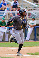 Quad Cities River Bandits outfielder Ronnie Dawson (12) runs to first base during a Midwest League game against the Beloit Snappers on June 18, 2017 at Pohlman Field in Beloit, Wisconsin.  Quad Cities defeated Beloit 5-3. (Brad Krause/Four Seam Images)