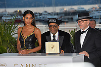 Spike Lee, Laura Harrier &amp; Barry Alexander Brown at the photocall for &quot;Award Winners&quot; at the 71st Festival de Cannes, Cannes, France 19 May 2018<br /> Picture: Paul Smith/Featureflash/SilverHub 0208 004 5359 sales@silverhubmedia.com