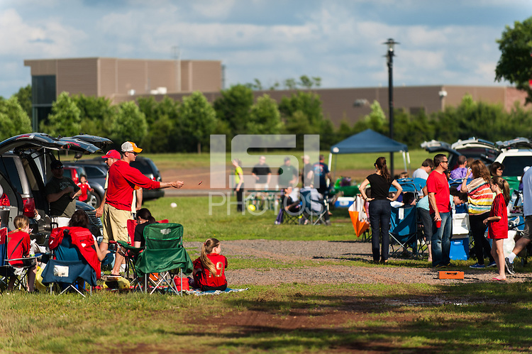 Fans tailgate prior to a National Women's Soccer League (NWSL) match between Sky Blue FC and the Western New York Flash at Yurcak Field in Piscataway, NJ, on June 8, 2013.