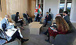 Palestinian Prime Minister Mohammad Ishtayeh, meets with President of the International Committee of the Red Cross Peter Maurer, in Geneva, Switzerland, on June 12, 2019. Photo by Prime Minister Office