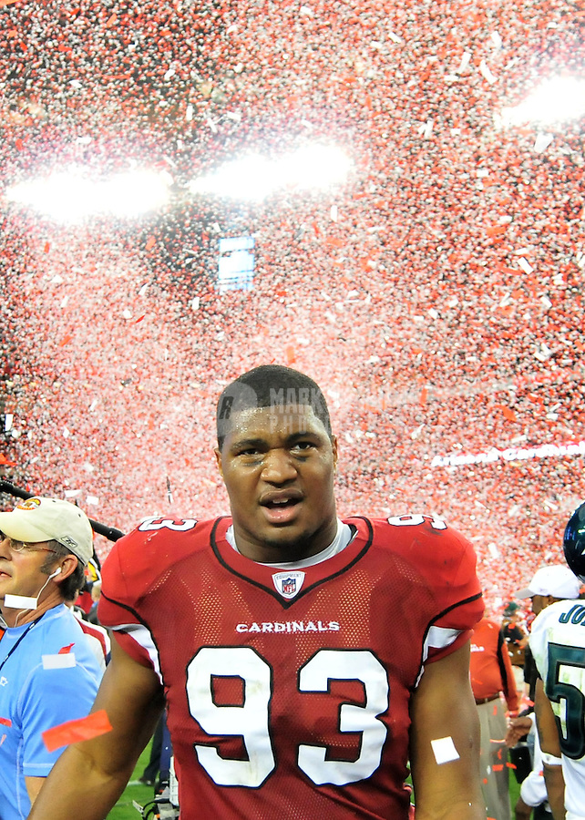 Jan. 18, 2009; Glendale, AZ, USA; Arizona Cardinals defensive end (93) Calais Campbell after defeating the Philadelphia Eagles during the NFC Championship game at University of Phoenix Stadium. Arizona defeated the Eagles 32-25 to advance to the Super Bowl. Mandatory Credit: Mark J. Rebilas-