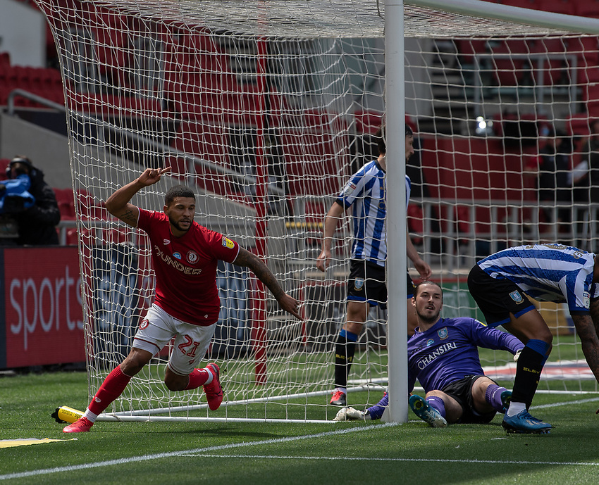 Bristol City's Nakhi Wells celebrates scoring his side's first goal <br /> <br /> Photographer David Horton/CameraSport<br /> <br /> The EFL Sky Bet Championship - Bristol City v Sheffield Wednesday - Sunday 28th June 2020 - Ashton Gate Stadium - Bristol <br /> <br /> World Copyright © 2020 CameraSport. All rights reserved. 43 Linden Ave. Countesthorpe. Leicester. England. LE8 5PG - Tel: +44 (0) 116 277 4147 - admin@camerasport.com - www.camerasport.com