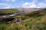 Concrete dam wall of Cow Green reservoir, Upper Teesdale, County Durham, England