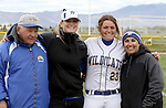 Kacie Freudenberger with coaches at the Sophomore Day celebration after the first game of the Western Nevada College softball doubleheader on Saturday, April 30, 2016 at Pete Livermore Sports Complex. Photo by Shannon Litz/Nevada Photo Source