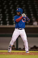 AZL Cubs 1 second baseman Yonathan Perlaza (12) at bat during an Arizona League game against the AZL Diamondbacks at Sloan Park on June 18, 2018 in Mesa, Arizona. AZL Diamondbacks defeated AZL Cubs 1 7-0. (Zachary Lucy/Four Seam Images)