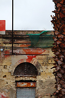 In the town of Taranto, an old modern coloured particular, with the trunk of a palm tree on a side, and the top of a low building in the center. The wall is striped, and the top part of  the closed shutter is rusted. The shutter is surmounted by an arc window that is closed by a grille, and there are the remainders of some red painting and a green protection net that covers some electrical cables, too.  Digitally Improved Photo.