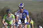 The breakaway group, Marco Frapporti (ITA) Androni Giocattoli, Angelo Pagani (ITA) Bardiani CSF, Davide Frattini (ITA) United Healthcare and Andrea Fedi (ITA) Yellow Fluo, on the 5th sector of strade near Murlo during the 2014 Strade Bianche race over the white dusty gravel roads of Tuscany running from San Gimignano to Siena, Italy. 8th March 2014.<br /> Picture: Eoin Clarke www.newsfile.ie