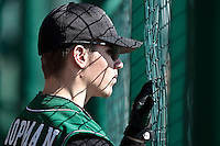 11 April 2010: Warren Coopman of Montigny is seen in the dugout during game 1/week 1 of the French Elite season won 5-1 by Rouen over Montigny, at the Cougars Stadium in Montigny le Bretonneux, France.